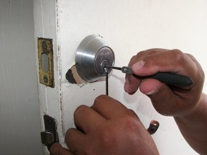 a locksmith at work